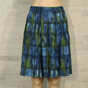 Talbots pleated midi skirt blue & green size 16